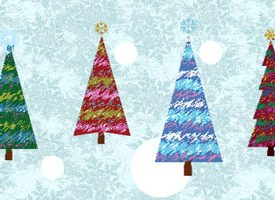 4 coloured Christmas trees, blue and white background