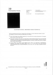 Example of bogus Companies House letter