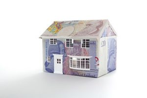 House constructed of UK bank notes